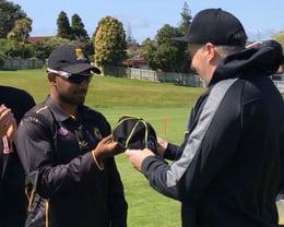 Junior coach Nikheil Bhana receives a Premier baggy